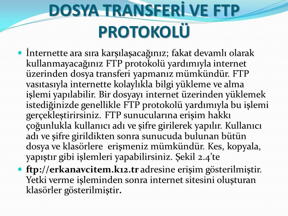 DOSYA TRANSFERİ VE FTP PROTOKOLÜ İnternette ara sıra karşılaşacağınız; fakat devamlı olarak kullanmayacağınız FTP protokolü yardımıyla internet üzerin