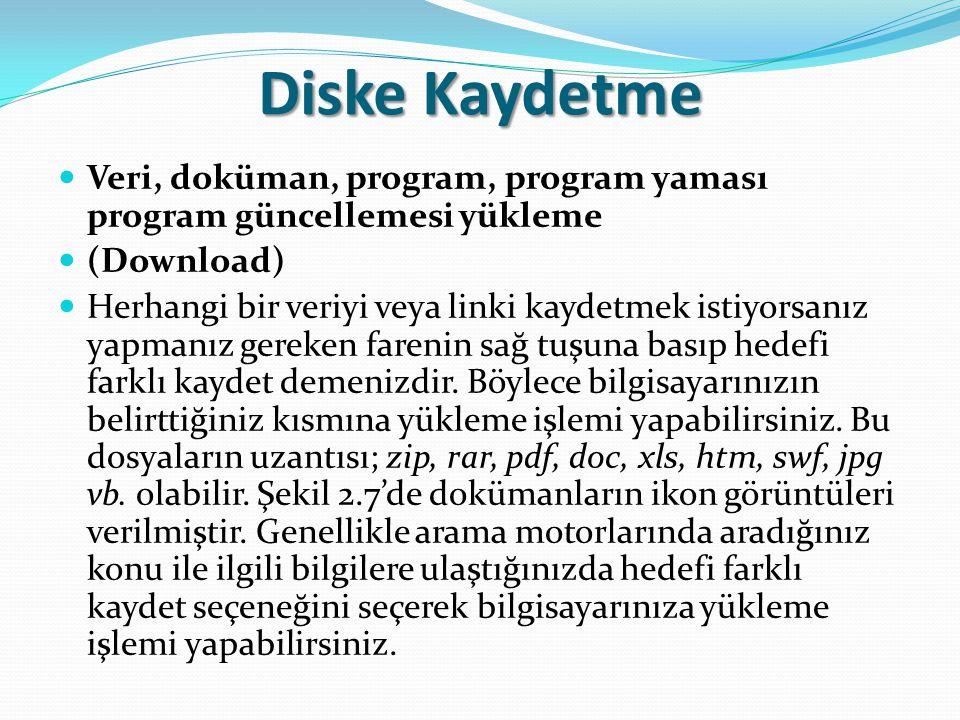 Diske Kaydetme Veri, doküman, program, program yaması program güncellemesi yükleme (Download) Herhangi bir veriyi veya linki kaydetmek istiyorsanız ya