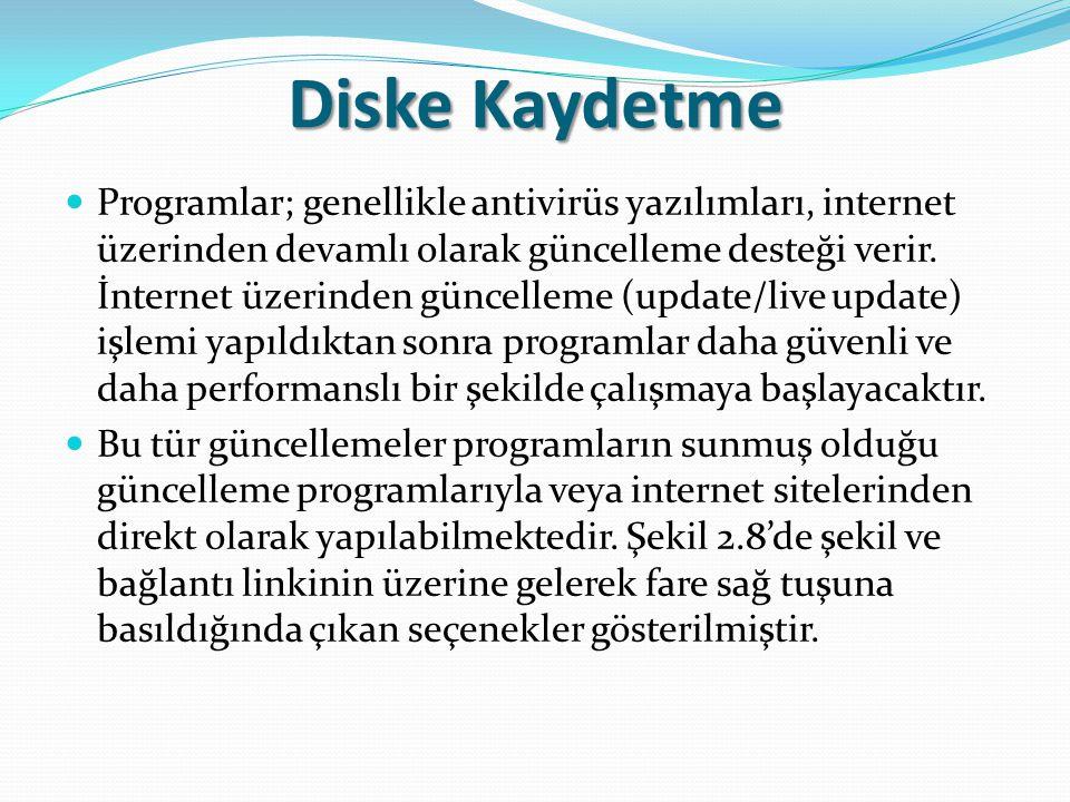 Diske Kaydetme Programlar; genellikle antivirüs yazılımları, internet üzerinden devamlı olarak güncelleme desteği verir. İnternet üzerinden güncelleme