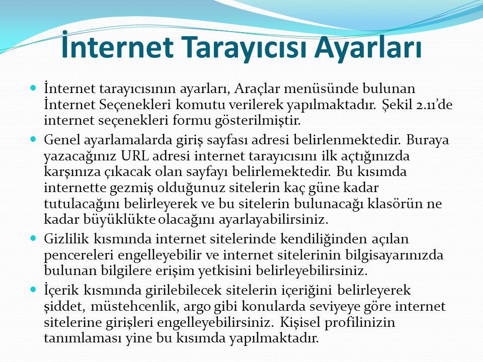 İnternet Tarayıcısı Ayarları İnternet tarayıcısının ayarları, Araçlar menüsünde bulunan İnternet Seçenekleri komutu verilerek yapılmaktadır. Şekil 2.1