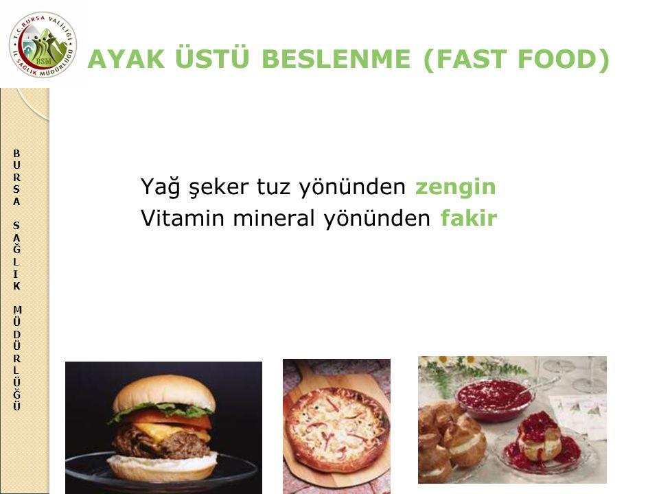 BURSASAĞLIKMÜDÜRLÜĞÜBURSASAĞLIKMÜDÜRLÜĞÜ AYAK ÜSTÜ BESLENME (FAST FOOD) Yağ şeker tuz yönünden zengin Vitamin mineral yönünden fakir
