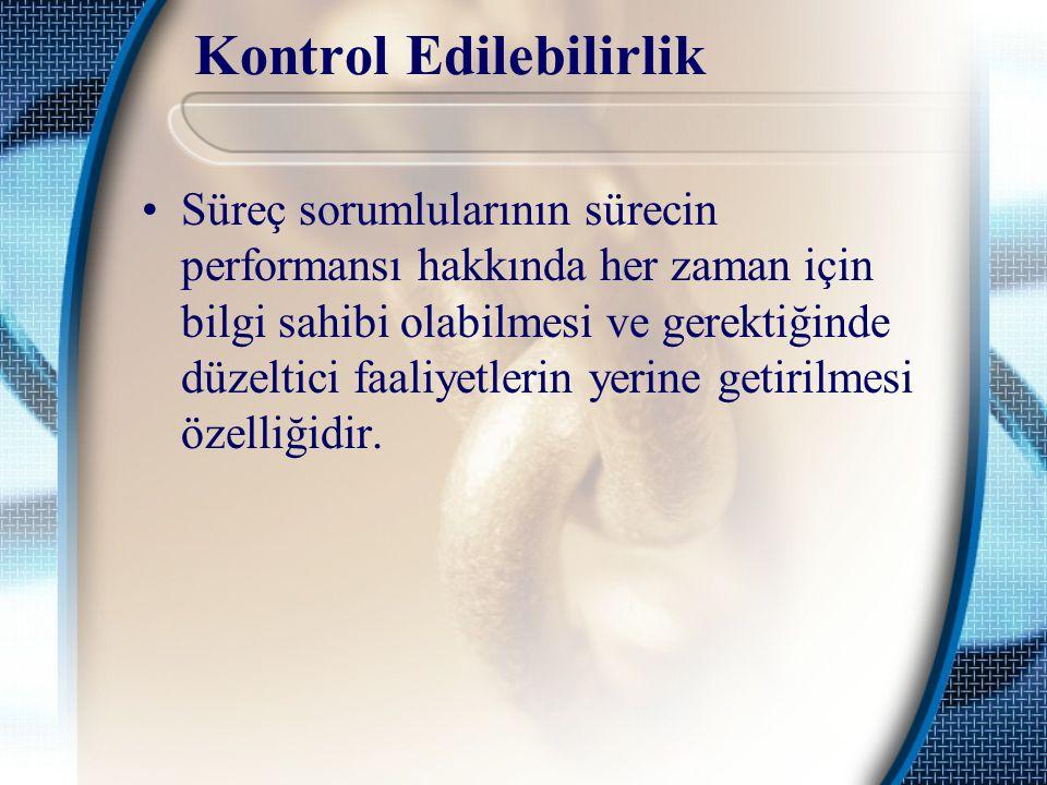 Kontrol Edilebilirlik Süreç sorumlularının sürecin performansı hakkında her zaman için bilgi sahibi olabilmesi ve gerektiğinde düzeltici faaliyetlerin