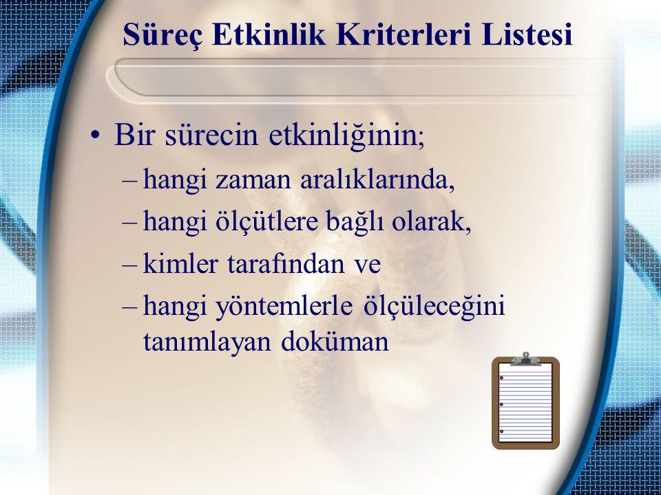 Süreç Etkinlik Kriterleri Listesi Bir sürecin etkinliğinin ; –hangi zaman aralıklarında, –hangi ölçütlere bağlı olarak, –kimler tarafından ve –hangi y