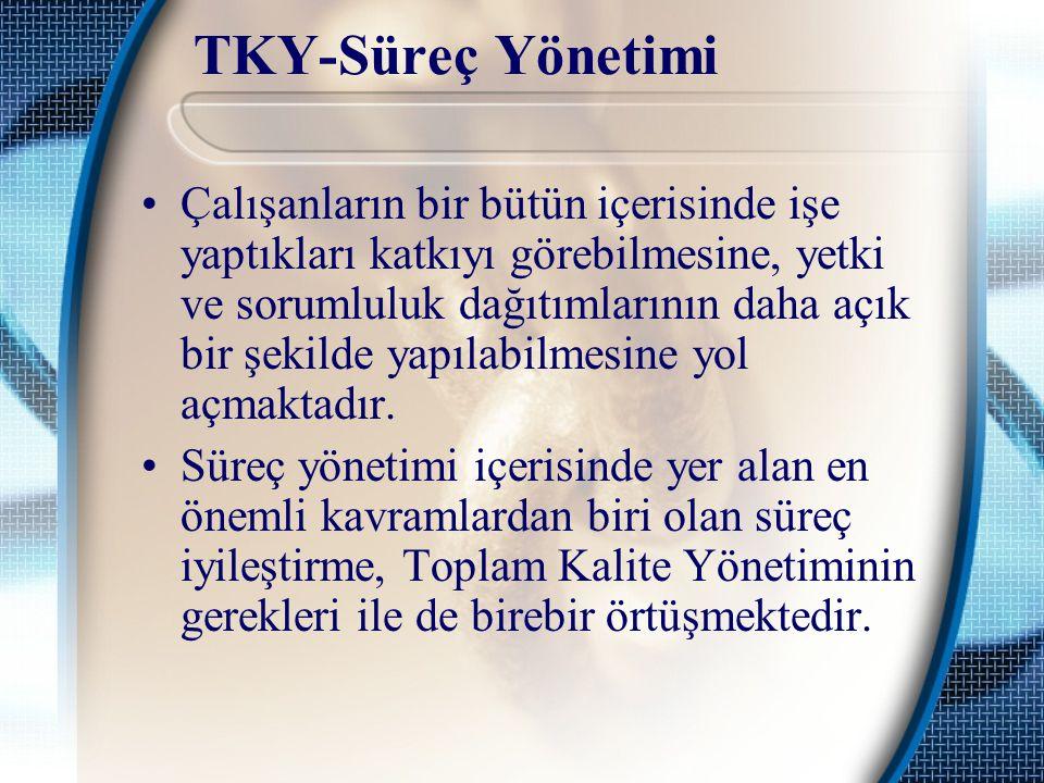 TKY-Süreç Yönetimi Çalışanların bir bütün içerisinde işe yaptıkları katkıyı görebilmesine, yetki ve sorumluluk dağıtımlarının daha açık bir şekilde ya