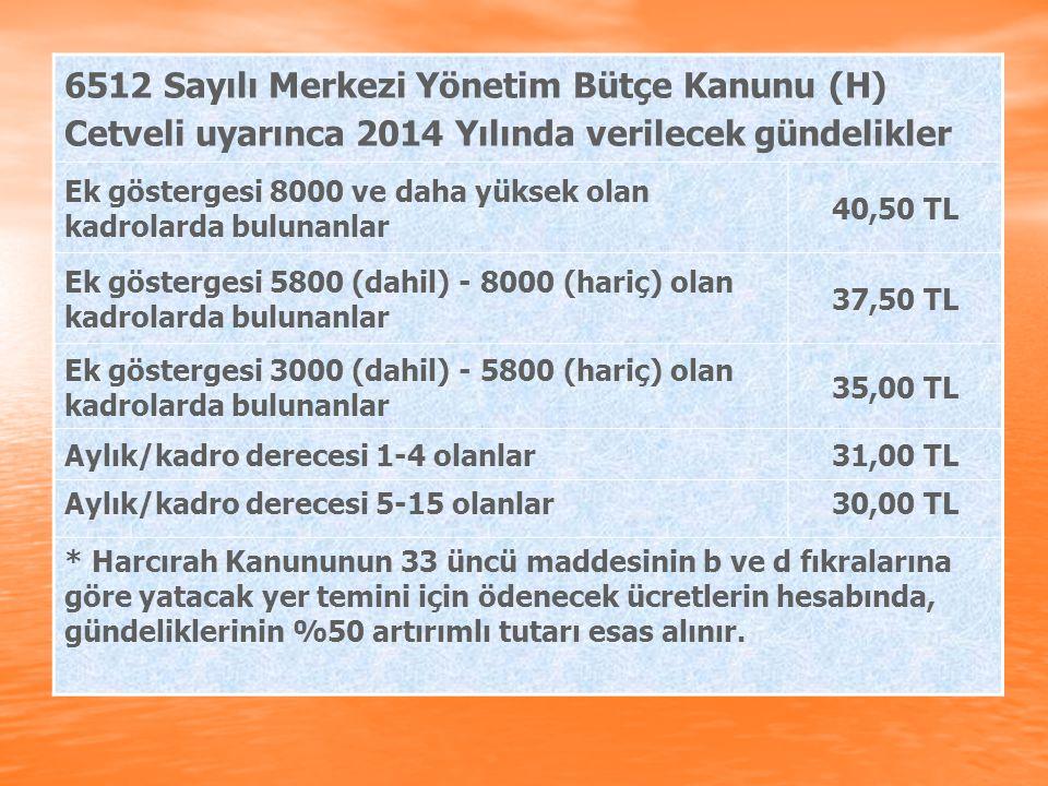 6512 Sayılı Merkezi Yönetim Bütçe Kanunu (H) Cetveli uyarınca 2014 Yılında verilecek gündelikler Ek göstergesi 8000 ve daha yüksek olan kadrolarda bul