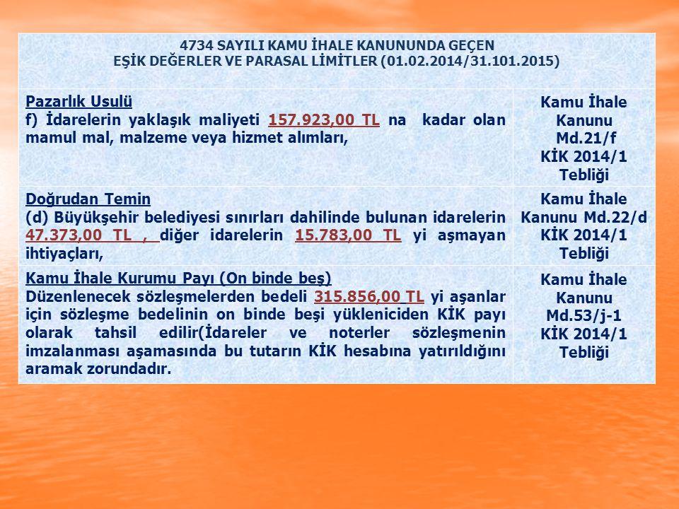4734 SAYILI KAMU İHALE KANUNUNDA GEÇEN EŞİK DEĞERLER VE PARASAL LİMİTLER (01.02.2014/31.101.2015) Pazarlık Usulü f) İdarelerin yaklaşık maliyeti 157.9
