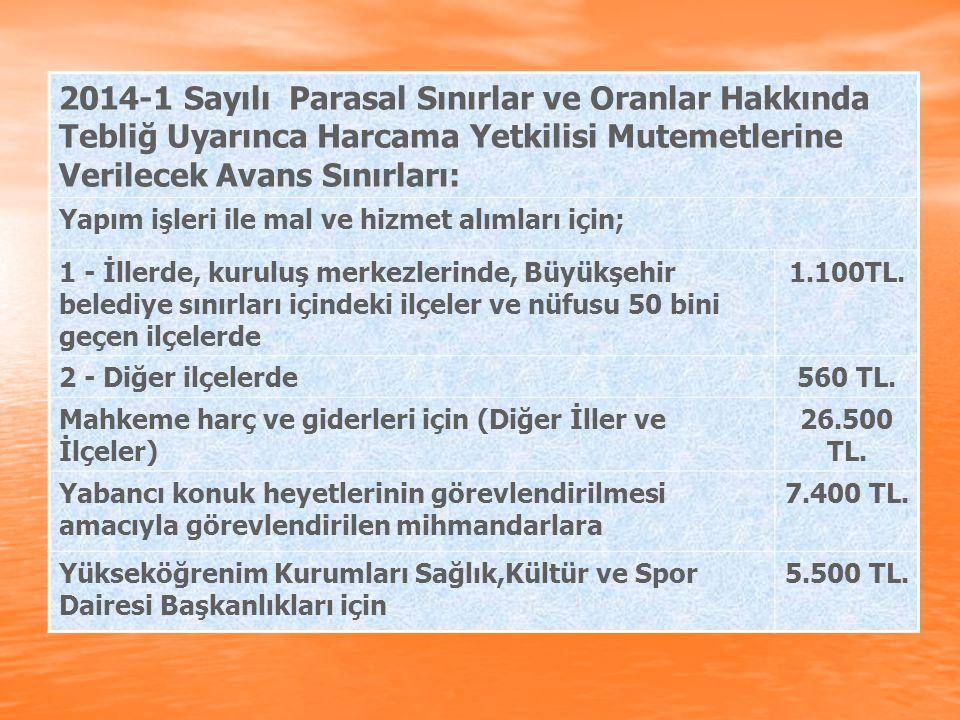 2014-1 Sayılı Parasal Sınırlar ve Oranlar Hakkında Tebliğ Uyarınca Harcama Yetkilisi Mutemetlerine Verilecek Avans Sınırları: Yapım işleri ile mal ve