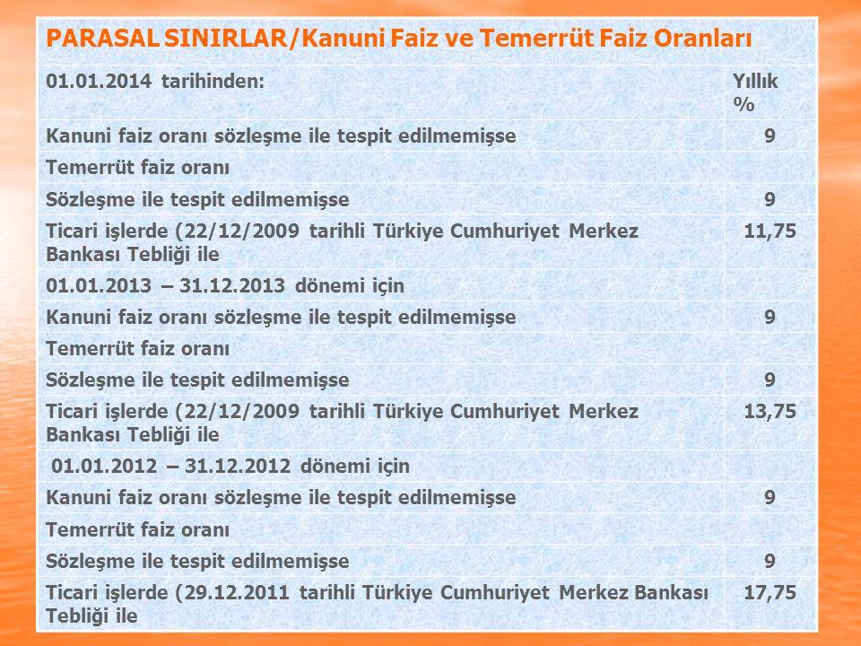 PARASAL SINIRLAR/Kanuni Faiz ve Temerrüt Faiz Oranları 01.01.2014 tarihinden:Yıllık % Kanuni faiz oranı sözleşme ile tespit edilmemişse9 Temerrüt faiz