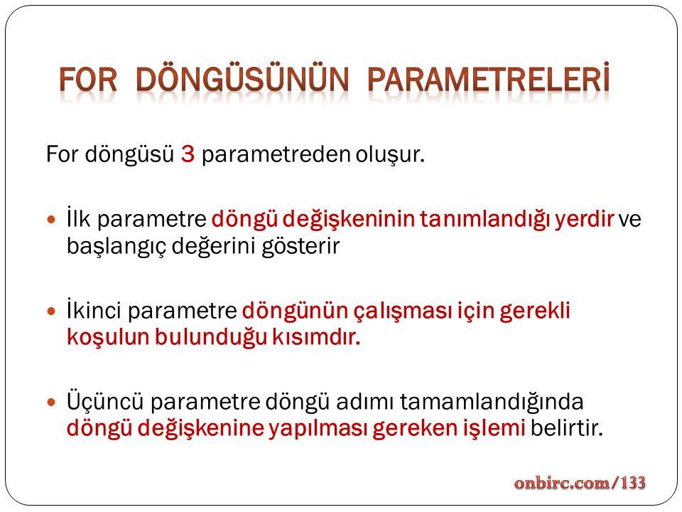 For döngüsü 3 parametreden oluşur. İlk parametre döngü değişkeninin tanımlandığı yerdir ve başlangıç değerini gösterir İkinci parametre döngünün çalış