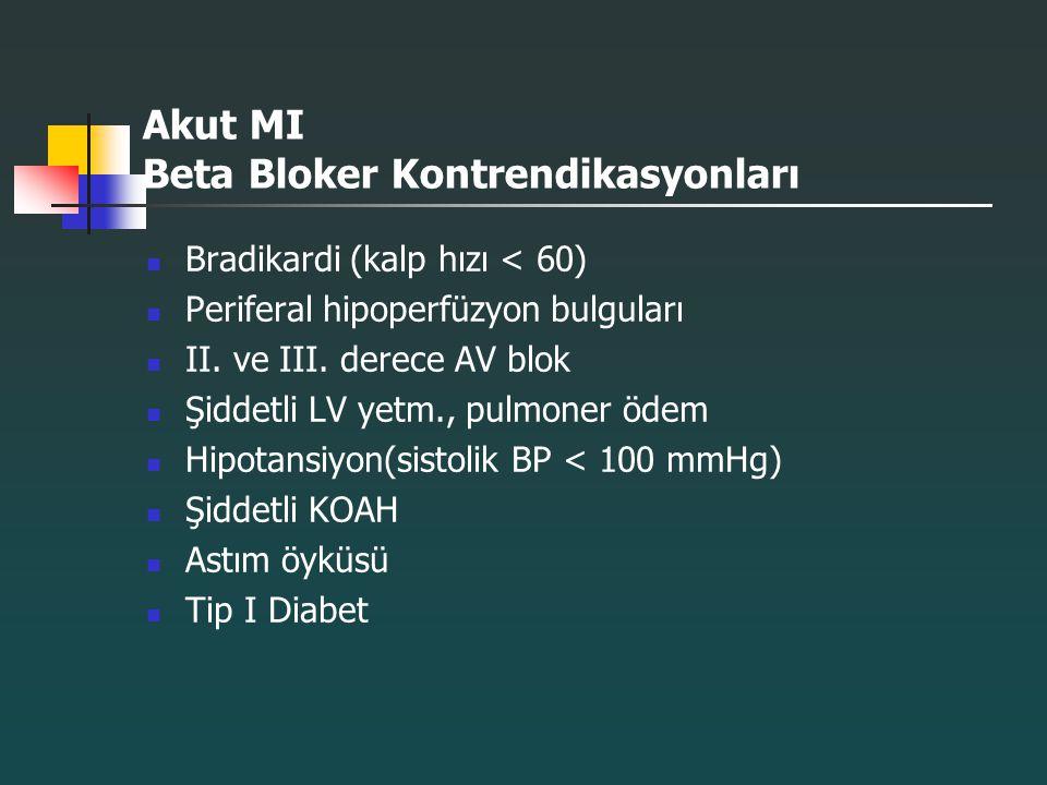 Akut MI Beta Bloker Kontrendikasyonları Bradikardi (kalp hızı < 60) Periferal hipoperfüzyon bulguları II. ve III. derece AV blok Şiddetli LV yetm., pu