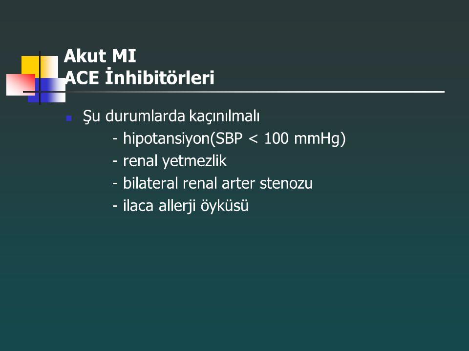 Akut MI ACE İnhibitörleri Şu durumlarda kaçınılmalı - hipotansiyon(SBP < 100 mmHg) - renal yetmezlik - bilateral renal arter stenozu - ilaca allerji ö