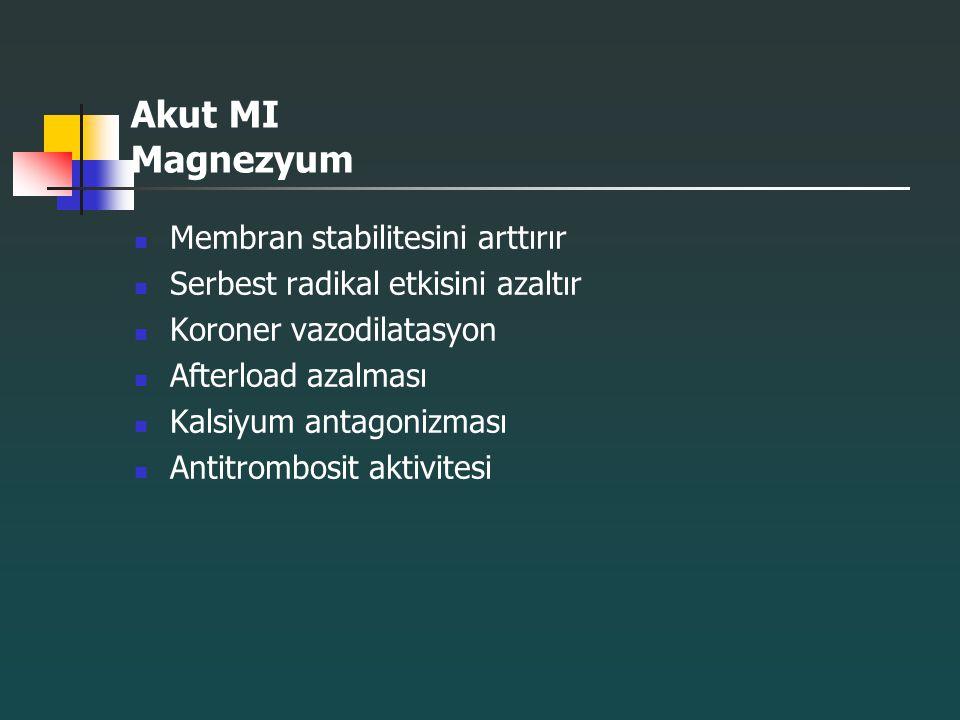Akut MI Magnezyum Membran stabilitesini arttırır Serbest radikal etkisini azaltır Koroner vazodilatasyon Afterload azalması Kalsiyum antagonizması Ant