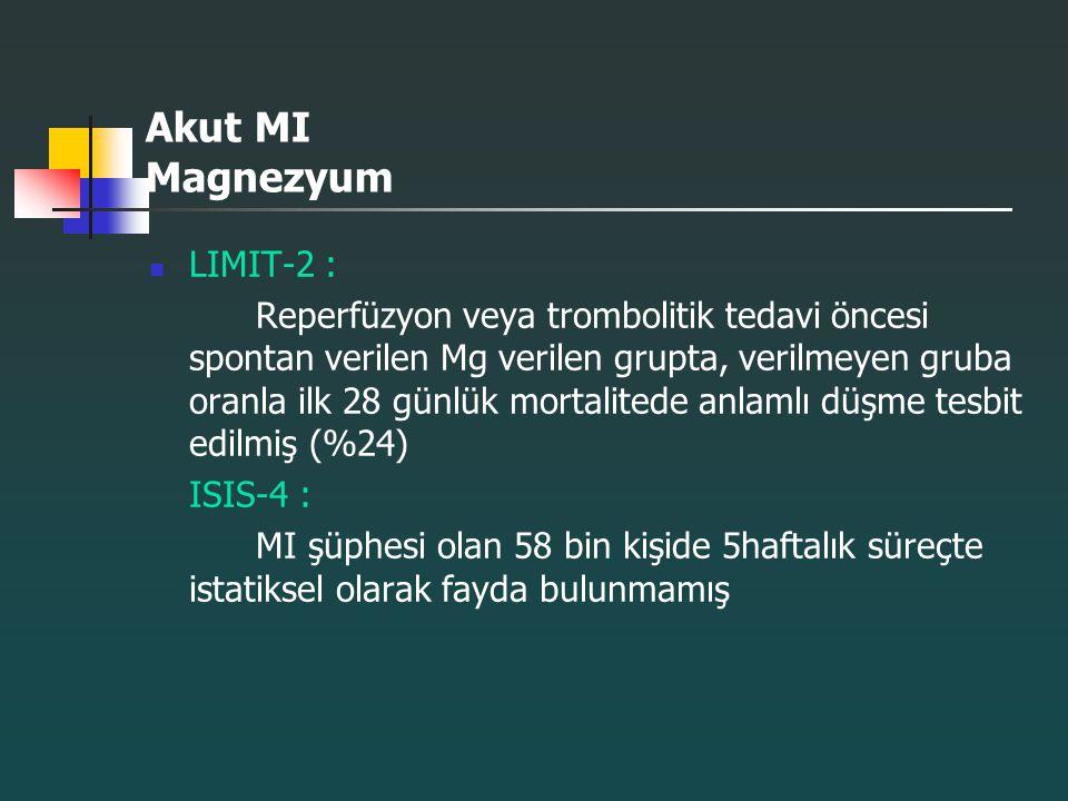 Akut MI Magnezyum LIMIT-2 : Reperfüzyon veya trombolitik tedavi öncesi spontan verilen Mg verilen grupta, verilmeyen gruba oranla ilk 28 günlük mortal