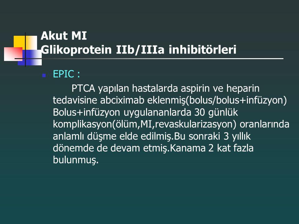 Akut MI Glikoprotein IIb/IIIa inhibitörleri EPIC : PTCA yapılan hastalarda aspirin ve heparin tedavisine abciximab eklenmiş(bolus/bolus+infüzyon) Bolu