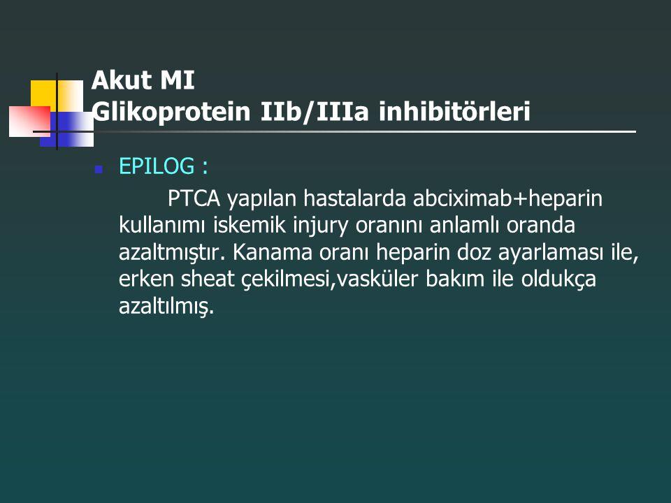 Akut MI Glikoprotein IIb/IIIa inhibitörleri EPILOG : PTCA yapılan hastalarda abciximab+heparin kullanımı iskemik injury oranını anlamlı oranda azaltmı