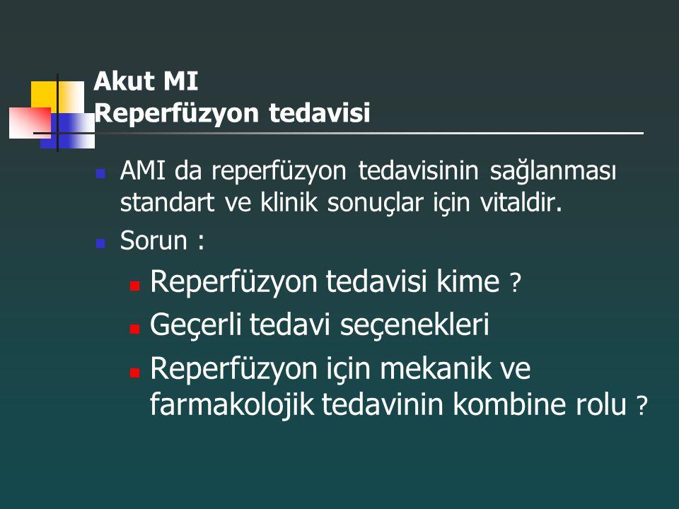 Akut MI Reperfüzyon tedavisi AMI da reperfüzyon tedavisinin sağlanması standart ve klinik sonuçlar için vitaldir. Sorun : Reperfüzyon tedavisi kime ?