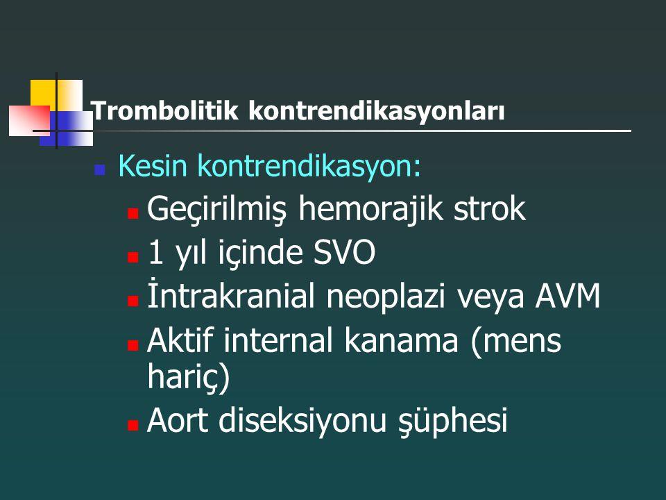 Trombolitik kontrendikasyonları Kesin kontrendikasyon: Geçirilmiş hemorajik strok 1 yıl içinde SVO İntrakranial neoplazi veya AVM Aktif internal kanam