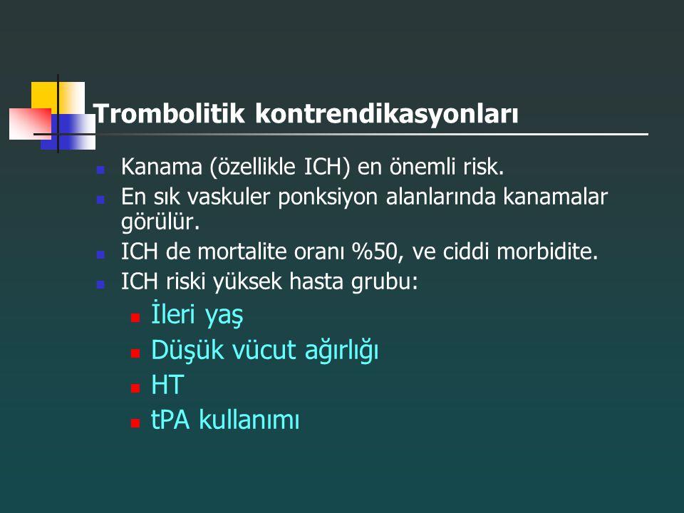 Trombolitik kontrendikasyonları Kanama (özellikle ICH) en önemli risk. En sık vaskuler ponksiyon alanlarında kanamalar görülür. ICH de mortalite oranı