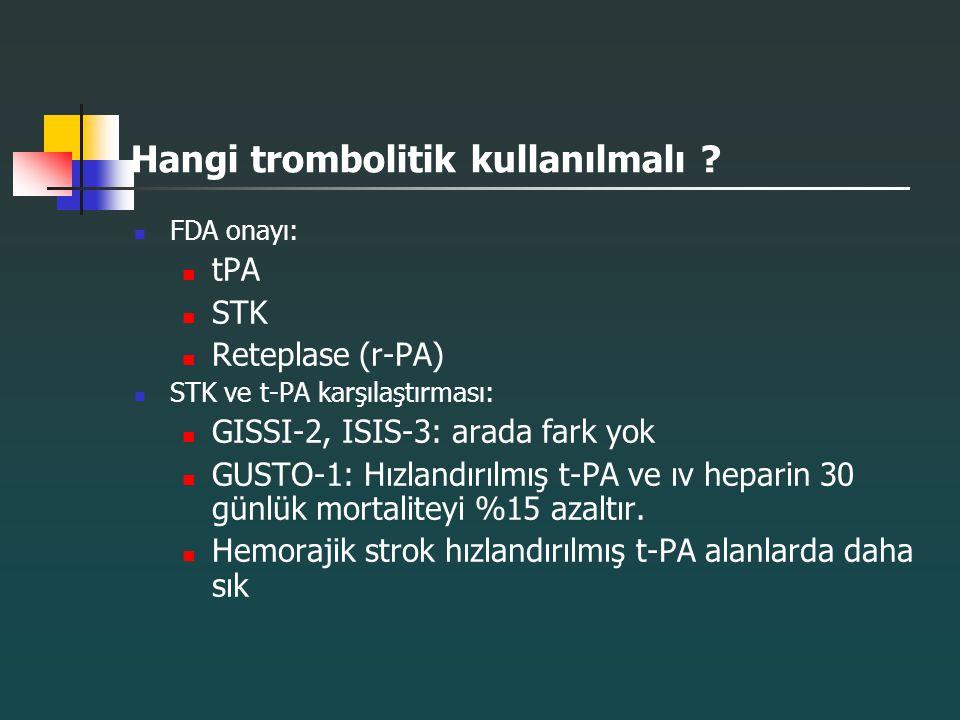 Hangi trombolitik kullanılmalı ? FDA onayı: tPA STK Reteplase (r-PA) STK ve t-PA karşılaştırması: GISSI-2, ISIS-3: arada fark yok GUSTO-1: Hızlandırıl