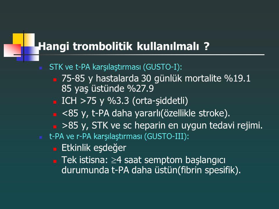 Hangi trombolitik kullanılmalı ? STK ve t-PA karşılaştırması (GUSTO-I): 75-85 y hastalarda 30 günlük mortalite %19.1 85 yaş üstünde %27.9 ICH >75 y %3
