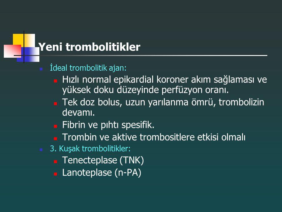 Yeni trombolitikler İdeal trombolitik ajan: Hızlı normal epikardial koroner akım sağlaması ve yüksek doku düzeyinde perfüzyon oranı. Tek doz bolus, uz
