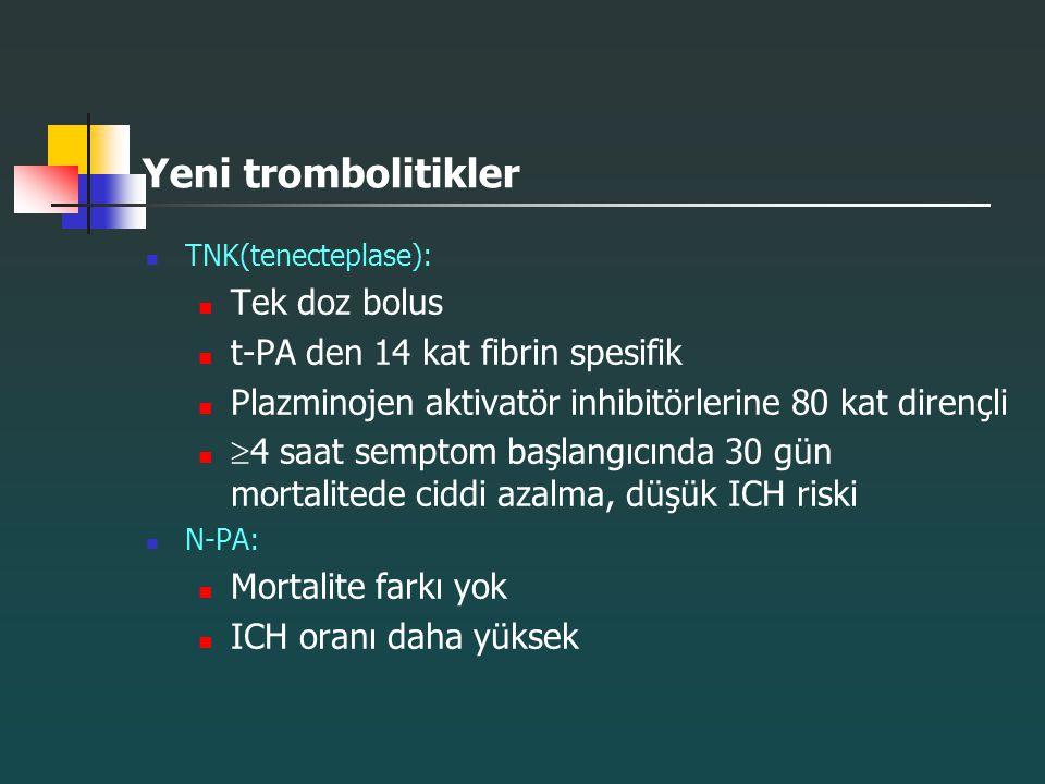 Yeni trombolitikler TNK(tenecteplase): Tek doz bolus t-PA den 14 kat fibrin spesifik Plazminojen aktivatör inhibitörlerine 80 kat dirençli  4 saat se