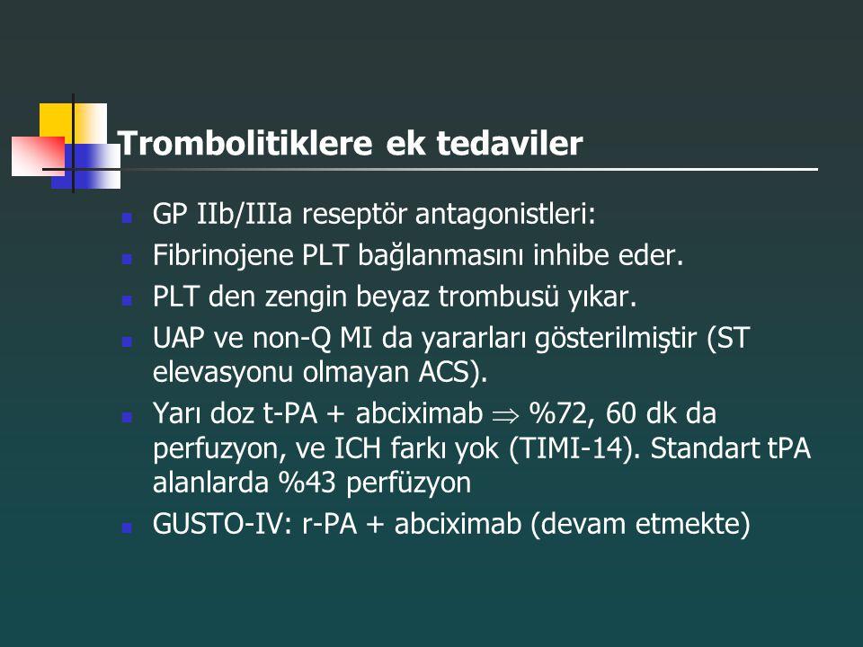 Trombolitiklere ek tedaviler GP IIb/IIIa reseptör antagonistleri: Fibrinojene PLT bağlanmasını inhibe eder. PLT den zengin beyaz trombusü yıkar. UAP v