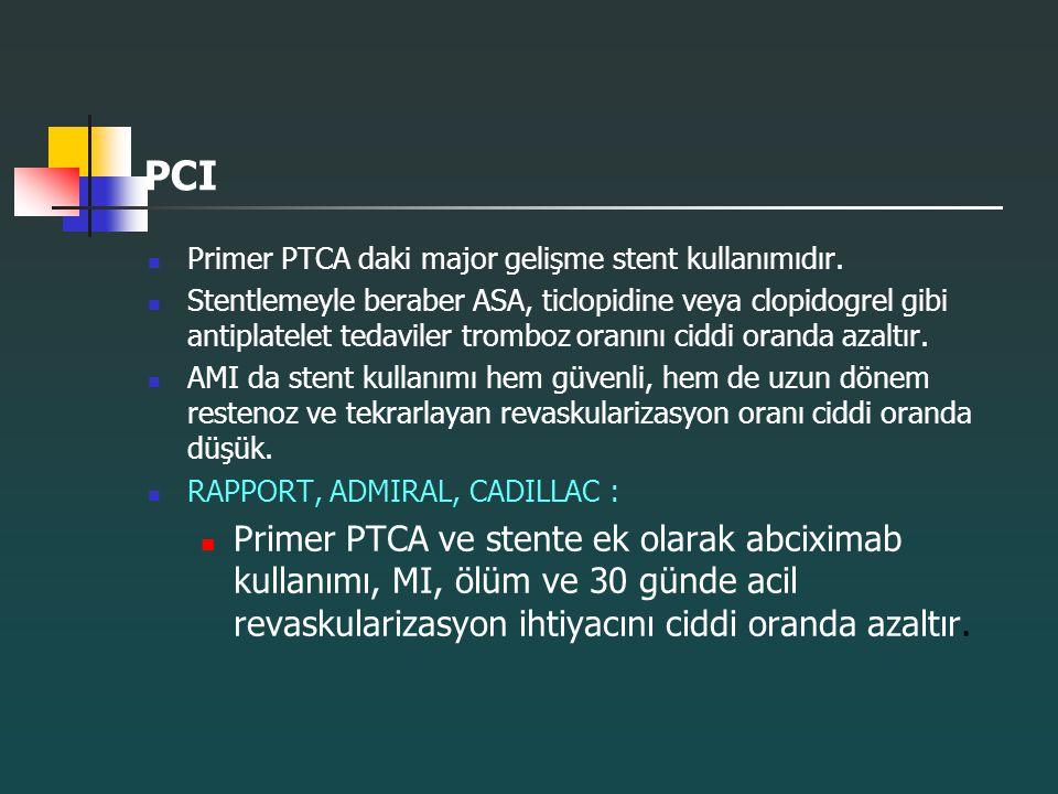 PCI Primer PTCA daki major gelişme stent kullanımıdır. Stentlemeyle beraber ASA, ticlopidine veya clopidogrel gibi antiplatelet tedaviler tromboz oran