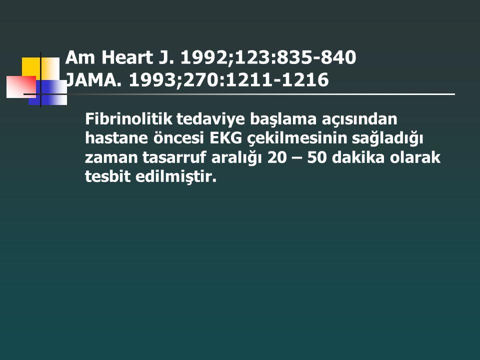 Am Heart J. 1992;123:835-840 JAMA. 1993;270:1211-1216 Fibrinolitik tedaviye başlama açısından hastane öncesi EKG çekilmesinin sağladığı zaman tasarruf