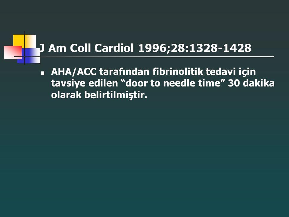 """J Am Coll Cardiol 1996;28:1328-1428 AHA/ACC tarafından fibrinolitik tedavi için tavsiye edilen """"door to needle time"""" 30 dakika olarak belirtilmiştir."""
