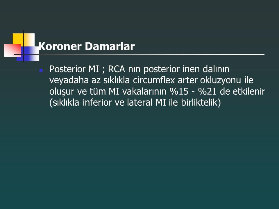 Koroner Damarlar Posterior MI ; RCA nın posterior inen dalının veyadaha az sıklıkla circumflex arter okluzyonu ile oluşur ve tüm MI vakalarının %15 -