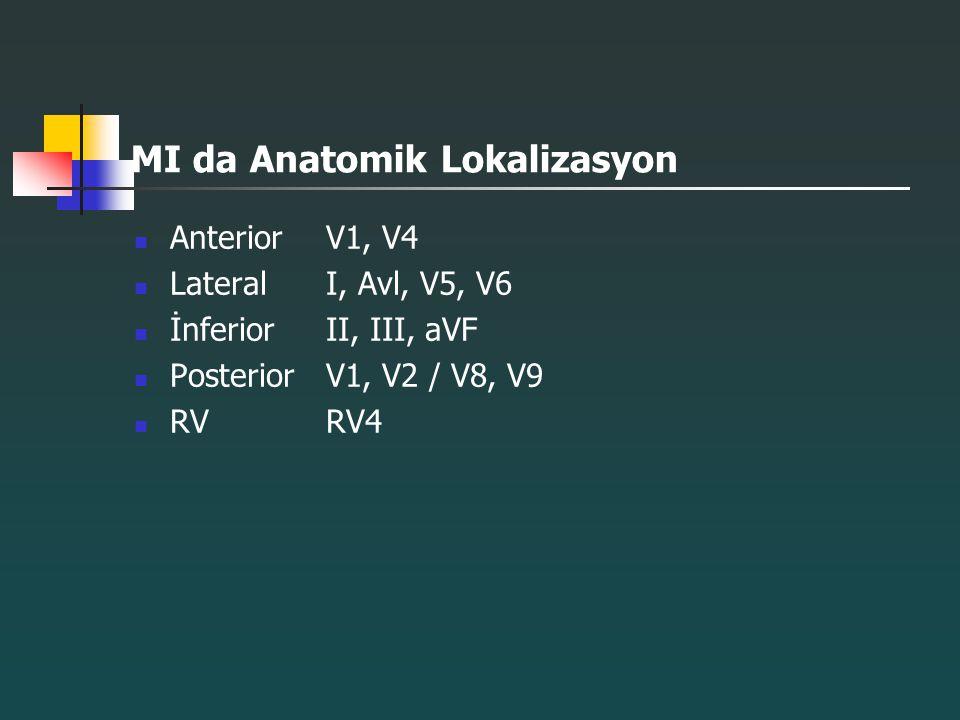 MI da Anatomik Lokalizasyon AnteriorV1, V4 Lateral I, Avl, V5, V6 İnferiorII, III, aVF PosteriorV1, V2 / V8, V9 RVRV4