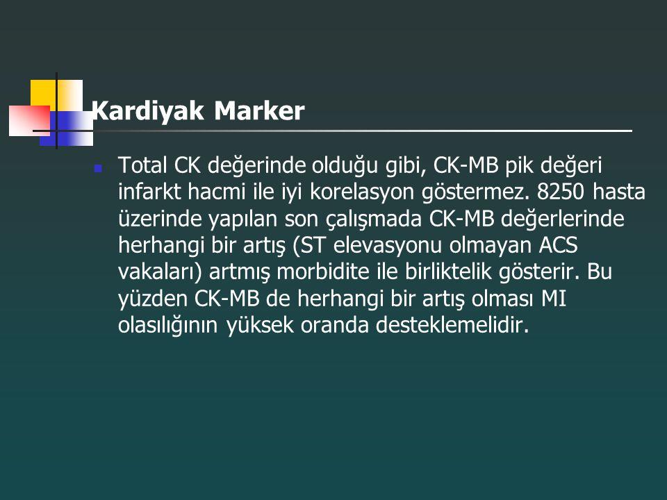 Kardiyak Marker Total CK değerinde olduğu gibi, CK-MB pik değeri infarkt hacmi ile iyi korelasyon göstermez. 8250 hasta üzerinde yapılan son çalışmada