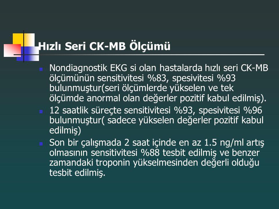 Hızlı Seri CK-MB Ölçümü Nondiagnostik EKG si olan hastalarda hızlı seri CK-MB ölçümünün sensitivitesi %83, spesivitesi %93 bulunmuştur(seri ölçümlerde