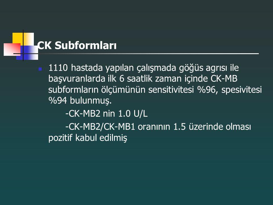 CK Subformları 1110 hastada yapılan çalışmada göğüs agrısı ile başvuranlarda ilk 6 saatlik zaman içinde CK-MB subformların ölçümünün sensitivitesi %96