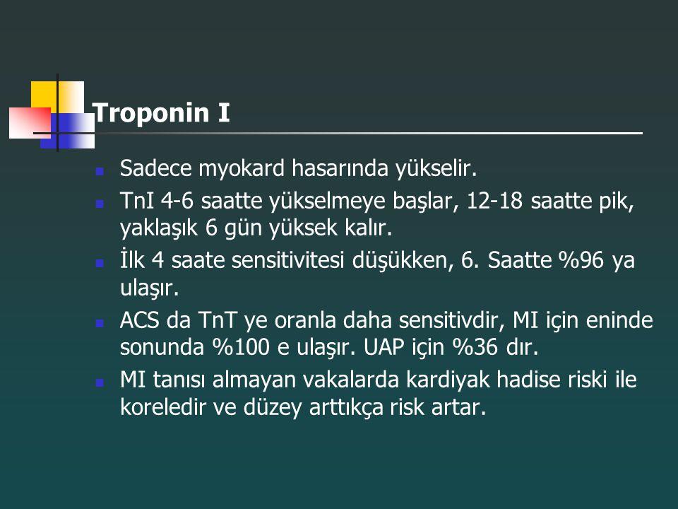 Troponin I Sadece myokard hasarında yükselir. TnI 4-6 saatte yükselmeye başlar, 12-18 saatte pik, yaklaşık 6 gün yüksek kalır. İlk 4 saate sensitivite