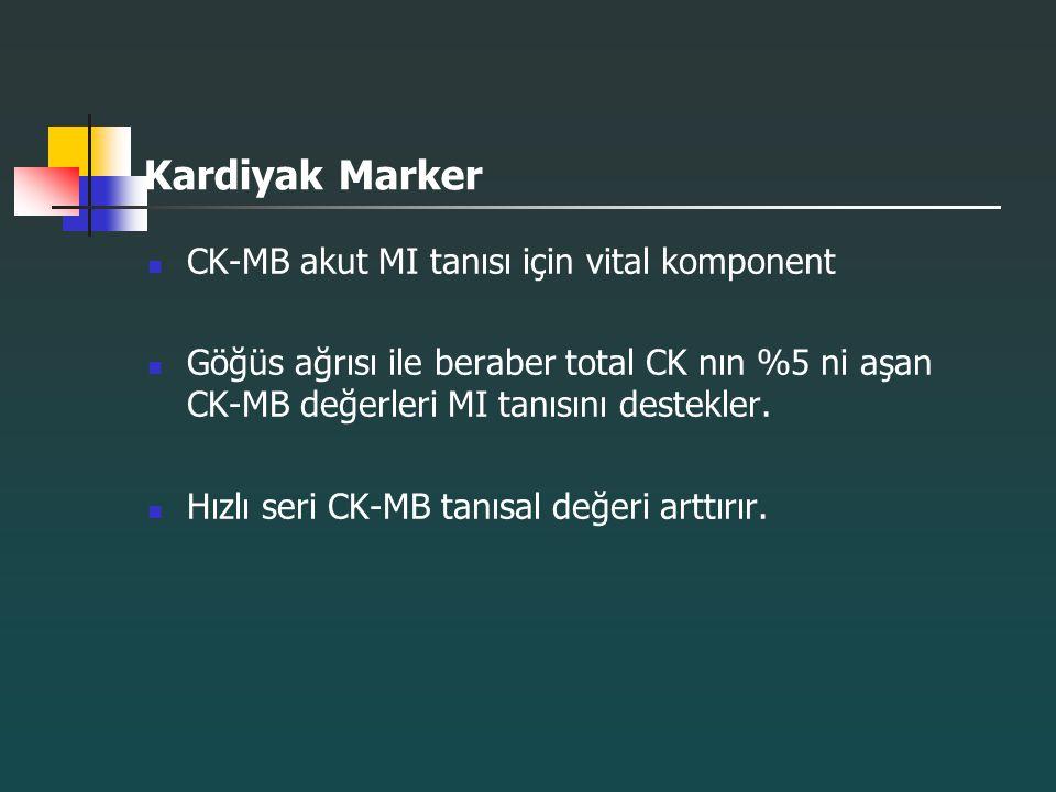 Kardiyak Marker CK-MB akut MI tanısı için vital komponent Göğüs ağrısı ile beraber total CK nın %5 ni aşan CK-MB değerleri MI tanısını destekler. Hızl