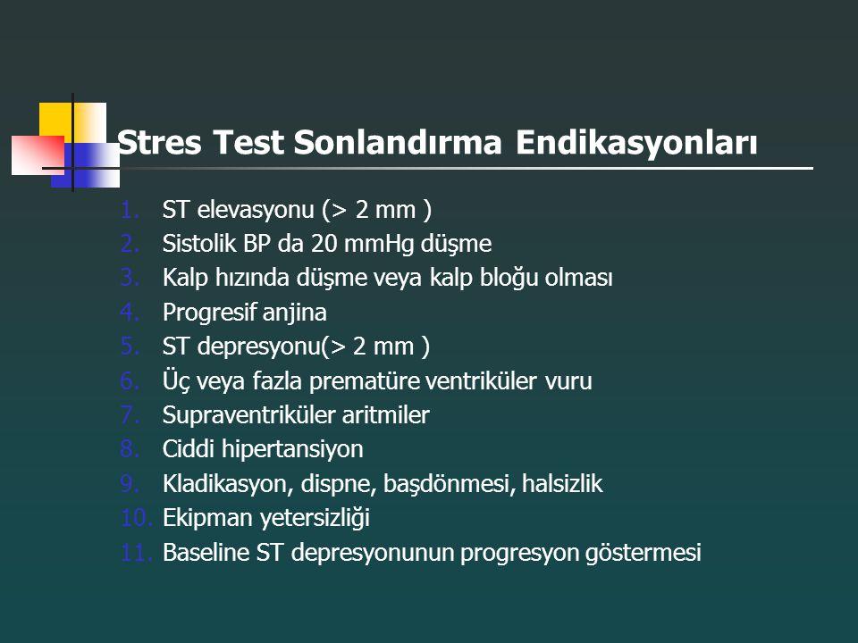 Stres Test Sonlandırma Endikasyonları 1.ST elevasyonu (> 2 mm ) 2.Sistolik BP da 20 mmHg düşme 3.Kalp hızında düşme veya kalp bloğu olması 4.Progresif
