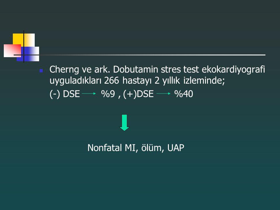 Cherng ve ark. Dobutamin stres test ekokardiyografi uyguladıkları 266 hastayı 2 yıllık izleminde; (-) DSE %9,(+)DSE %40 Nonfatal MI, ölüm, UAP