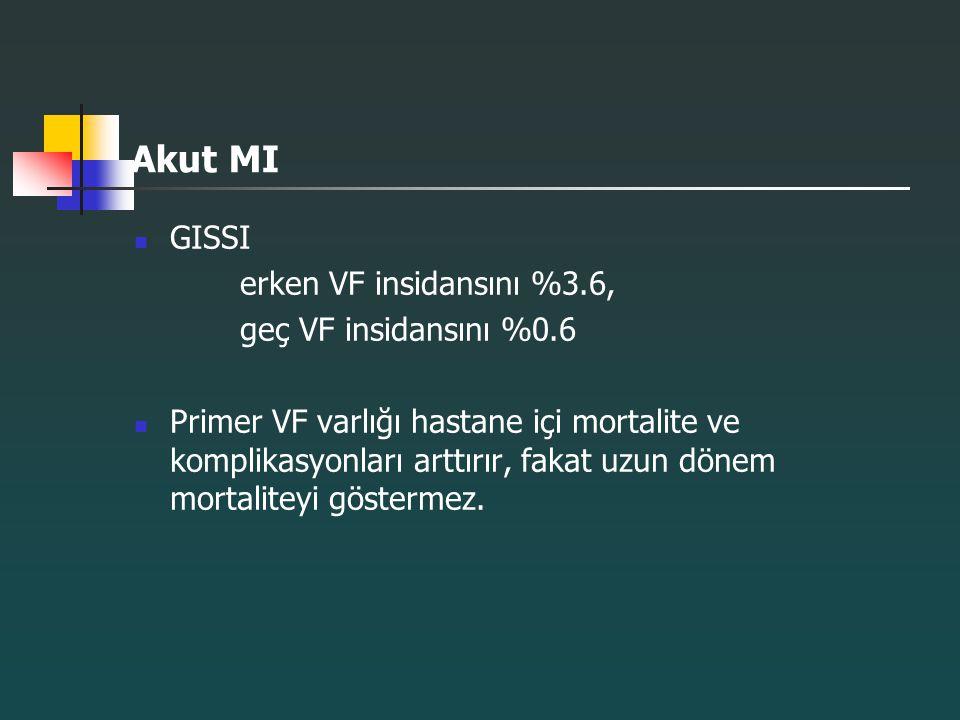 Akut MI GISSI erken VF insidansını %3.6, geç VF insidansını %0.6 Primer VF varlığı hastane içi mortalite ve komplikasyonları arttırır, fakat uzun döne