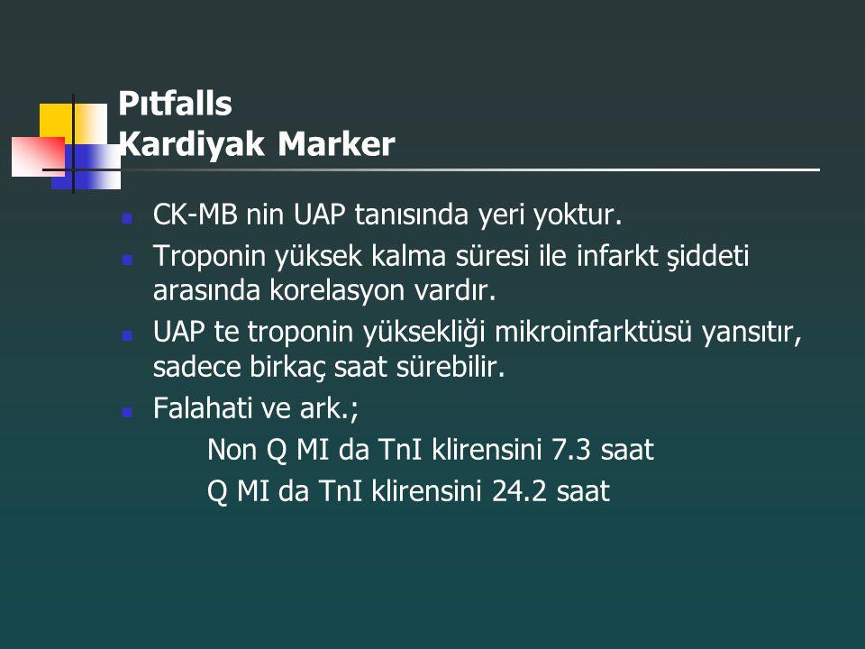 Pıtfalls Kardiyak Marker CK-MB nin UAP tanısında yeri yoktur. Troponin yüksek kalma süresi ile infarkt şiddeti arasında korelasyon vardır. UAP te trop