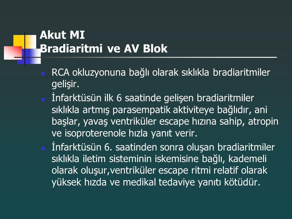 Akut MI Bradiaritmi ve AV Blok RCA okluzyonuna bağlı olarak sıklıkla bradiaritmiler gelişir. İnfarktüsün ilk 6 saatinde gelişen bradiaritmiler sıklıkl