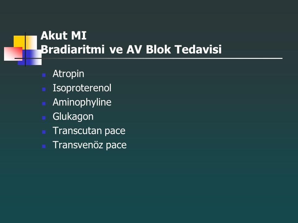 Akut MI Bradiaritmi ve AV Blok Tedavisi Atropin Isoproterenol Aminophyline Glukagon Transcutan pace Transvenöz pace