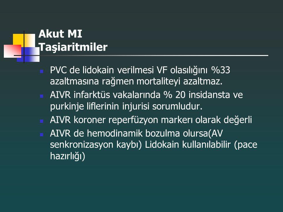 Akut MI Taşiaritmiler PVC de lidokain verilmesi VF olasılığını %33 azaltmasına rağmen mortaliteyi azaltmaz. AIVR infarktüs vakalarında % 20 insidansta