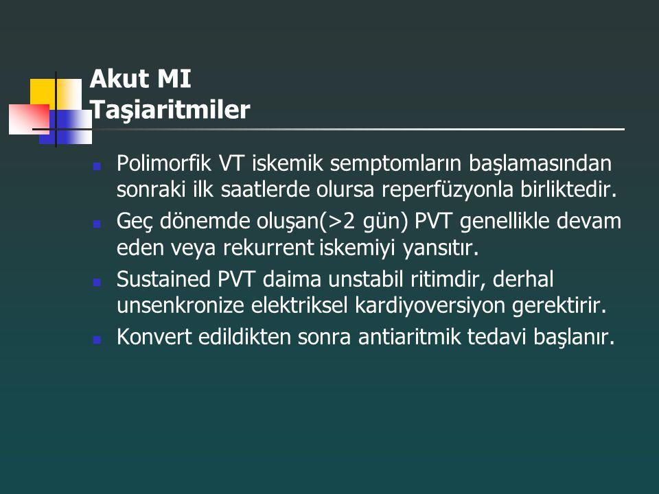 Akut MI Taşiaritmiler Polimorfik VT iskemik semptomların başlamasından sonraki ilk saatlerde olursa reperfüzyonla birliktedir. Geç dönemde oluşan(>2 g