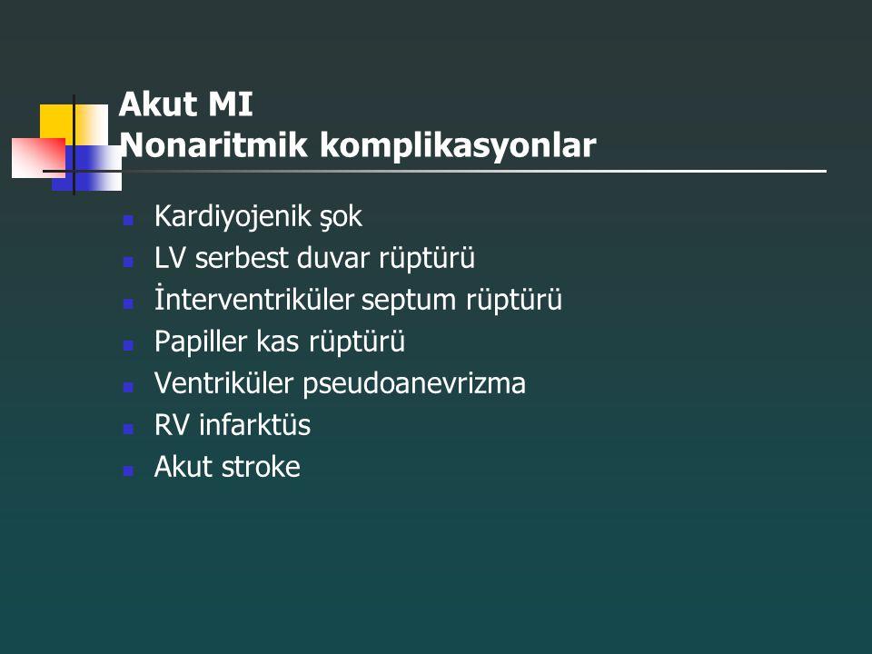 Akut MI Nonaritmik komplikasyonlar Kardiyojenik şok LV serbest duvar rüptürü İnterventriküler septum rüptürü Papiller kas rüptürü Ventriküler pseudoan