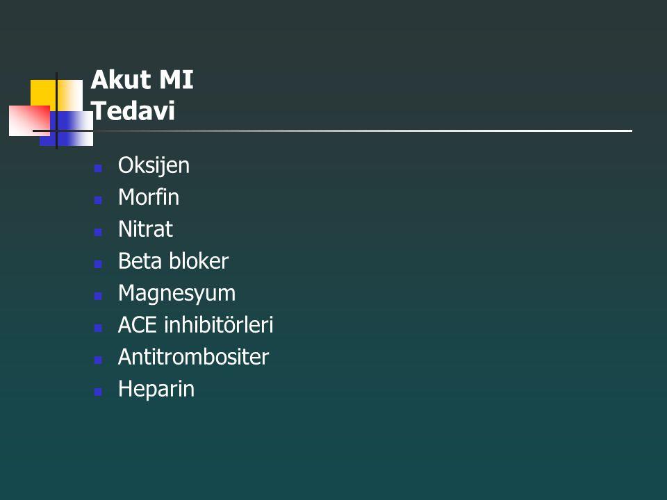 Akut MI Tedavi Oksijen Morfin Nitrat Beta bloker Magnesyum ACE inhibitörleri Antitrombositer Heparin