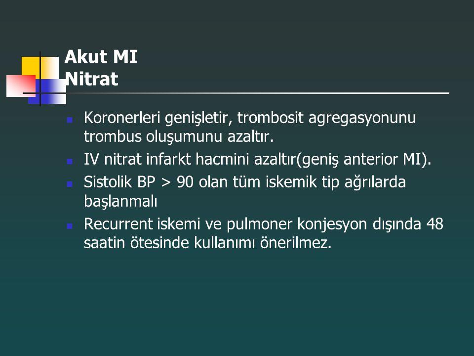 Akut MI Nitrat Koronerleri genişletir, trombosit agregasyonunu trombus oluşumunu azaltır. IV nitrat infarkt hacmini azaltır(geniş anterior MI). Sistol