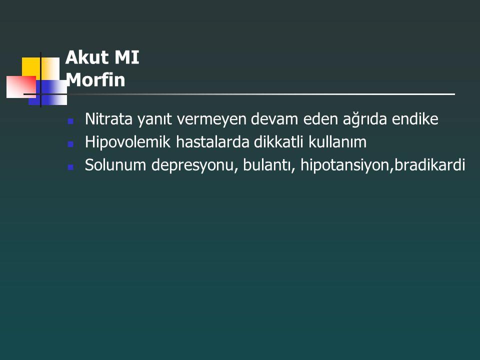 Akut MI Morfin Nitrata yanıt vermeyen devam eden ağrıda endike Hipovolemik hastalarda dikkatli kullanım Solunum depresyonu, bulantı, hipotansiyon,brad