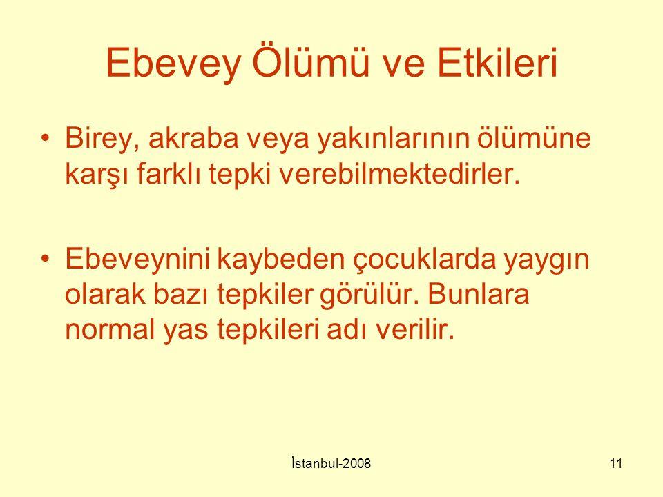 İstanbul-200811 Ebevey Ölümü ve Etkileri Birey, akraba veya yakınlarının ölümüne karşı farklı tepki verebilmektedirler. Ebeveynini kaybeden çocuklarda